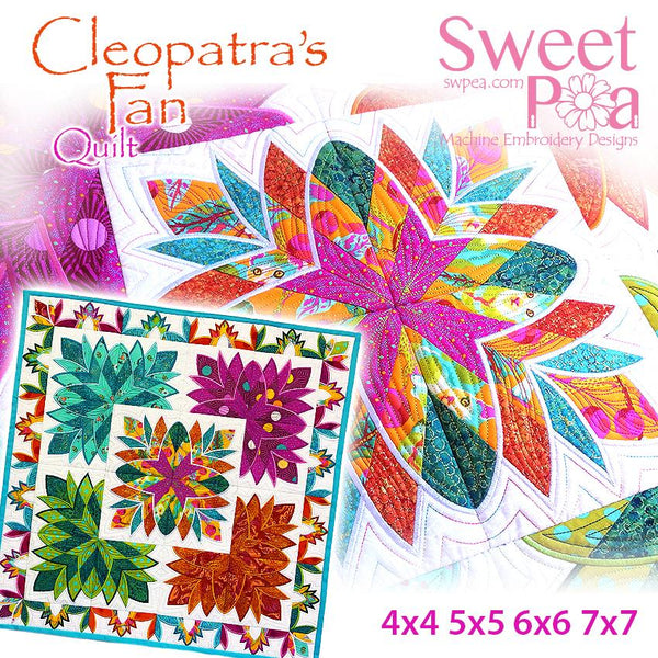 Cleopatra's fan quilt 4x4 5x5 6x6 7x7 - Sweet Pea In The Hoop Machine Embroidery Design