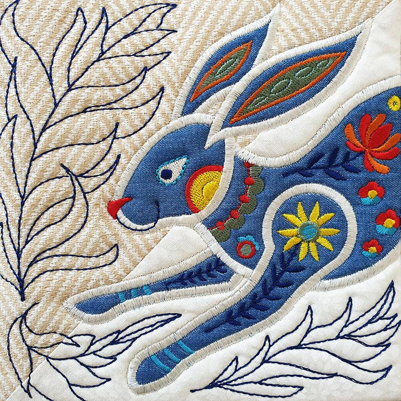 Folk Art Rabbit Table Runner or Flag 4x4 5x5 6x6 and 7x7 - Sweet Pea In The Hoop Machine Embroidery Design