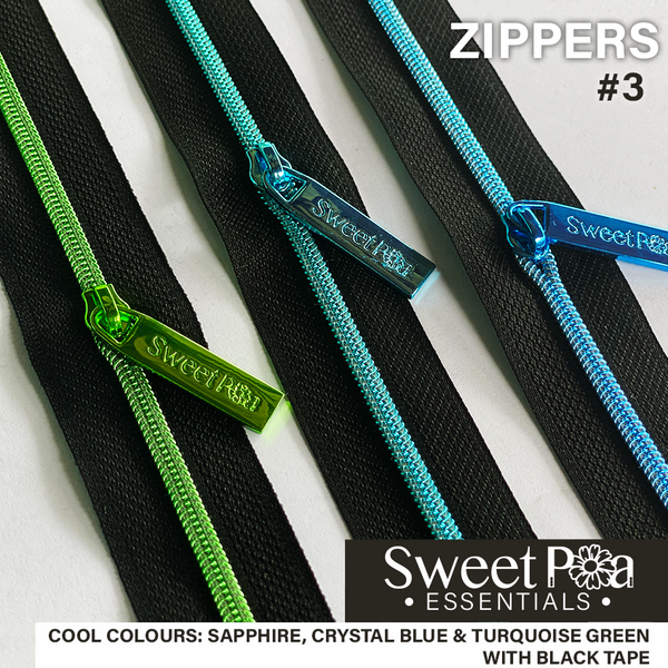 Sweet Pea #3 Zippers - BLACK/COOL COLOURS