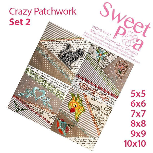 Crazy patchwork quilt blocks set 2 5x5 6x6 7x7 8x8 9x9 10x10 - Sweet Pea In The Hoop Machine Embroidery Design