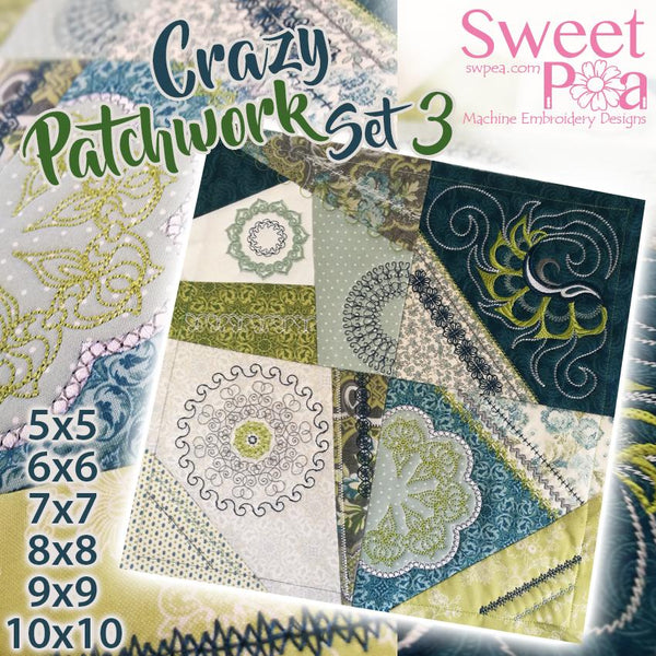Crazy patchwork quilt blocks set 3 5x5 6x6 7x7 8x8 9x9 10x10 - Sweet Pea In The Hoop Machine Embroidery Design