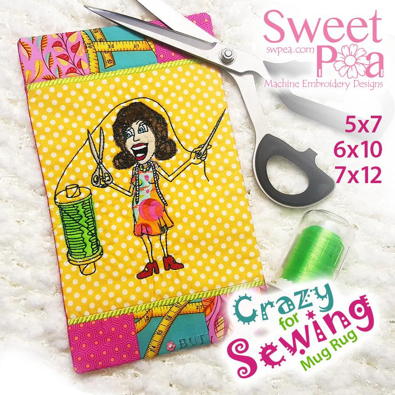 Crazy for sewing mugrug 5x7 6x10 7x12 - Sweet Pea In The Hoop Machine Embroidery Design