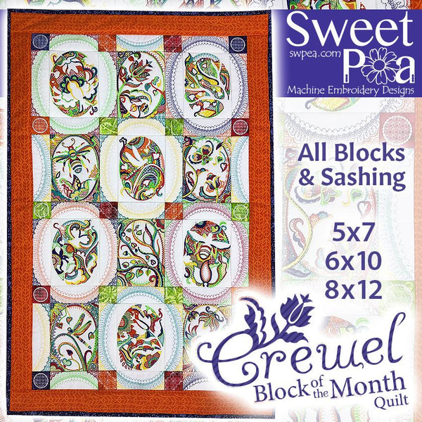 Bulk BOM Crewel quilt blocks 1 to 12 and Borders and Sashing - Sweet Pea In The Hoop Machine Embroidery Design