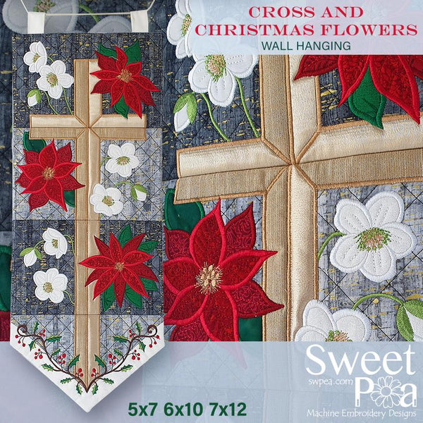 Cross and Christmas Flowers Wall Hanging 5x7 6x10 7x12 - Sweet Pea In The Hoop Machine Embroidery Design