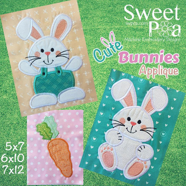 Cute Bunnies machine embroidery applique design 5x7 6x10 and 7x12 - Sweet Pea In The Hoop Machine Embroidery Design