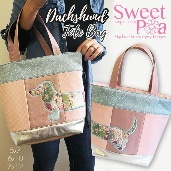 Dachshund Tote bag 5x7 6x10 7x12 - Sweet Pea In The Hoop Machine Embroidery Design