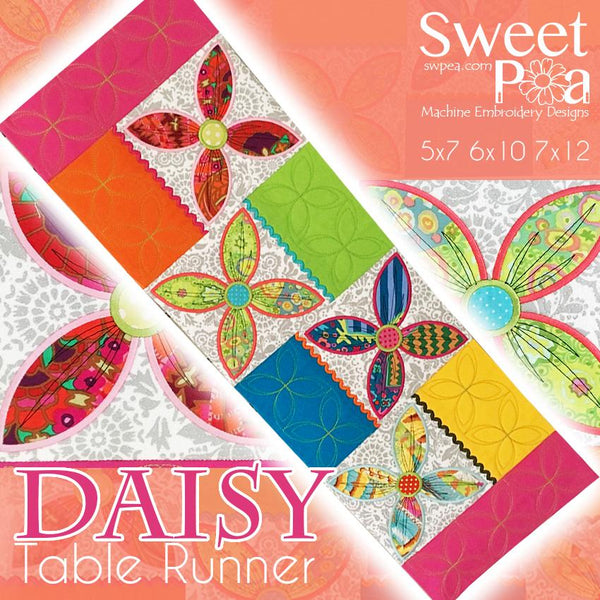 Daisy table runner 5x7 6x10 7x12 - Sweet Pea In The Hoop Machine Embroidery Design
