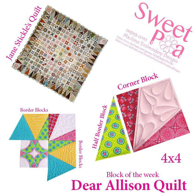 Dear Allison corner block for the 4x4 hoop - Sweet Pea In The Hoop Machine Embroidery Design