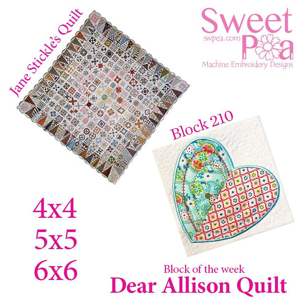 Dear Allison quilt block 210 in the 4x4 5x5 6x6 - Sweet Pea In The Hoop Machine Embroidery Design