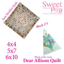 Dear Allison quilt block 170 and BONUS border block 171 in the 4x4 5x5 6x6 hoop machine embroidery design - Sweet Pea In The Hoop Machine Embroidery Design