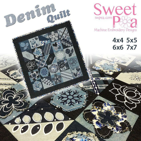 Denim quilt in the hoop 4x4 5x5 6x6 7x7 - Sweet Pea In The Hoop Machine Embroidery Design