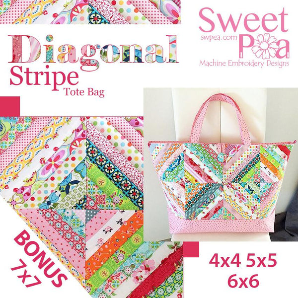 Diagonal stripe tote bag 4x4 5x5 6x6 plus Bonus 7x7 quilt block design. - Sweet Pea In The Hoop Machine Embroidery Design