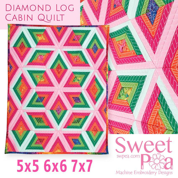 Diamond Log Cabin Quilt 5x5 6x6 7x7 - Sweet Pea In The Hoop Machine Embroidery Design