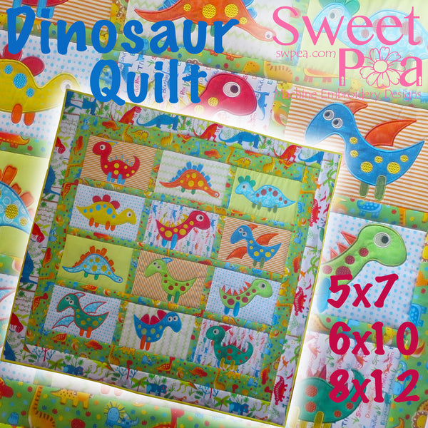 Dinosaur quilt 5x7 6x10 8x12 - Sweet Pea In The Hoop Machine Embroidery Design