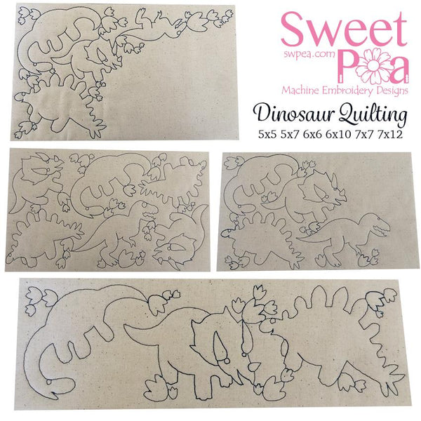 Dinosaur Quilting design - Sweet Pea In The Hoop Machine Embroidery Design