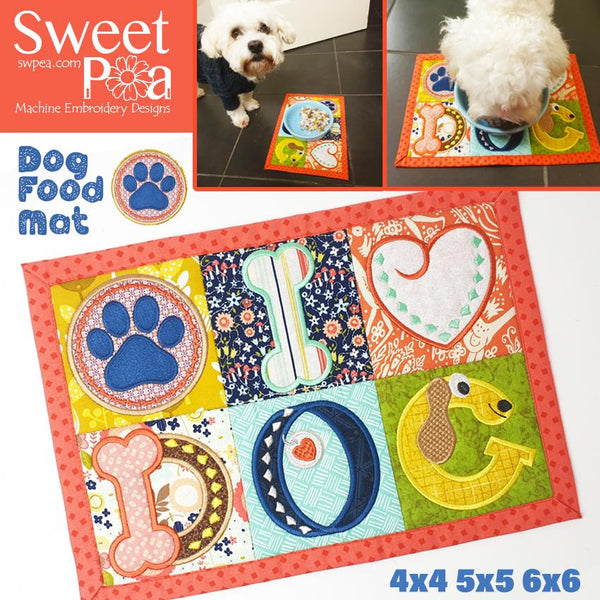 Dog Food Mat 4x4 5x5 6x6 - Sweet Pea In The Hoop Machine Embroidery Design