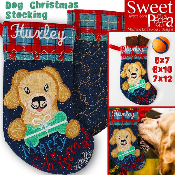 Dog Christmas Stocking 5x7 6x10 7x12 - Sweet Pea In The Hoop Machine Embroidery Design