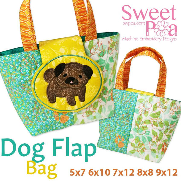 Dog Flap bag 5x7 6x10 7x12 8x8 or 9x12 - Sweet Pea In The Hoop Machine Embroidery Design