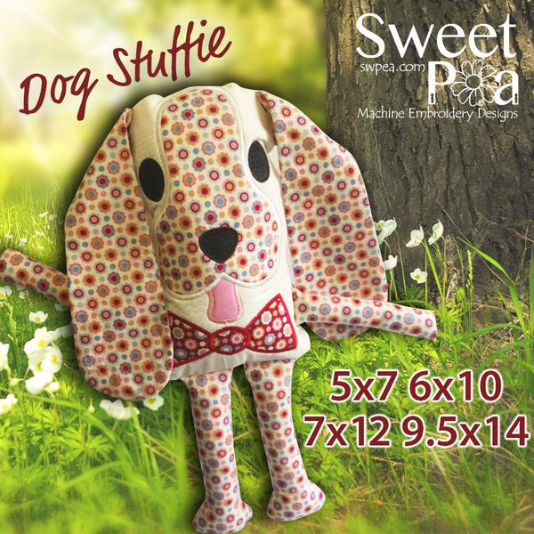 Dog stuffie 5x7 6x10 7x12 9.5x14 - Sweet Pea In The Hoop Machine Embroidery Design