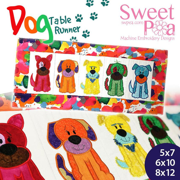 Dog table runner 5x7 6x10 8x12 - Sweet Pea In The Hoop Machine Embroidery Design