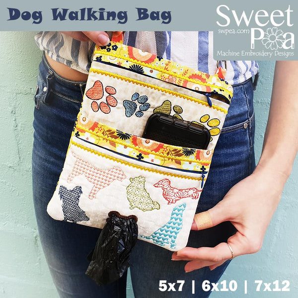Dog Walking Bag 5x7 6x10 7x12 - Sweet Pea In The Hoop Machine Embroidery Design