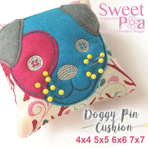 Doggy Pin Cushion 4x4 5x5 6x6 7x7 - Sweet Pea In The Hoop Machine Embroidery Design