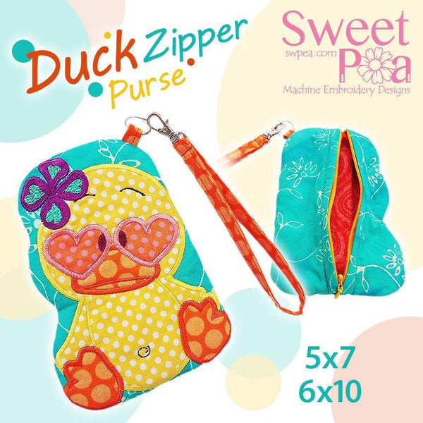 Unicef Charity Duck Zipper Purse 5x7 and 6x10 - Sweet Pea In The Hoop Machine Embroidery Design