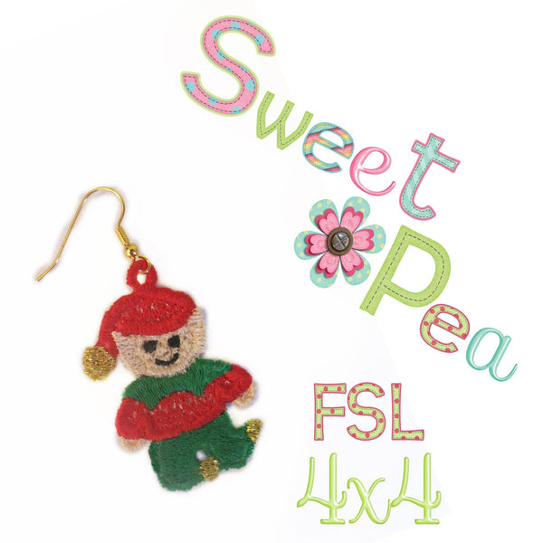 Elf FSL earrings - Sweet Pea In The Hoop Machine Embroidery Design