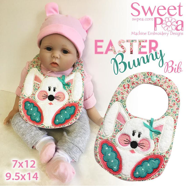 Easter bunny bib ITH in the hoop 7x12 and 9.5x14 - Sweet Pea In The Hoop Machine Embroidery Design