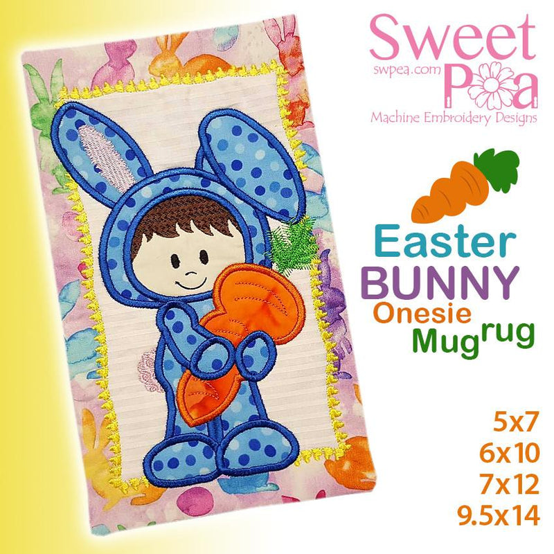 Easter bunny onesie mugrug 5x7 6x10 7x12 9.5x14 - Sweet Pea In The Hoop Machine Embroidery Design