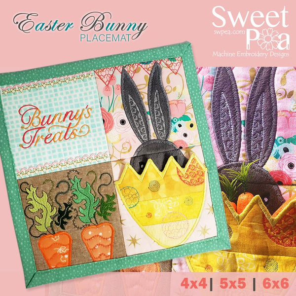 Easter Bunny placemat 4x4 5x5 6x6 - Sweet Pea In The Hoop Machine Embroidery Design