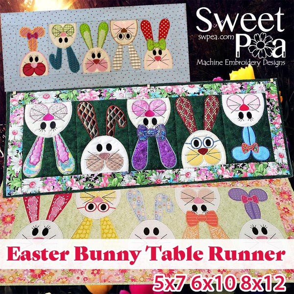 Easter bunny table runner 5x7 6x10 8x12 - Sweet Pea In The Hoop Machine Embroidery Design