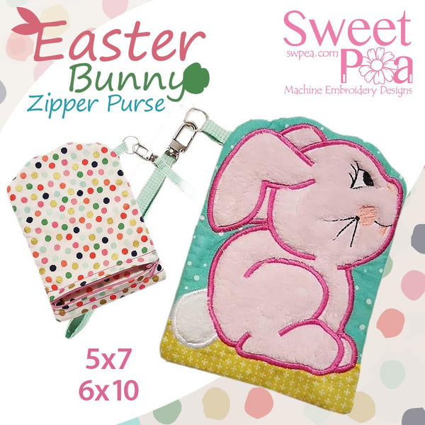 Easter bunny zipper purse 5x7 and 6x10 - Sweet Pea In The Hoop Machine Embroidery Design