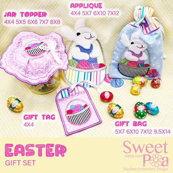 Easter Gift Set - Sweet Pea In The Hoop Machine Embroidery Design