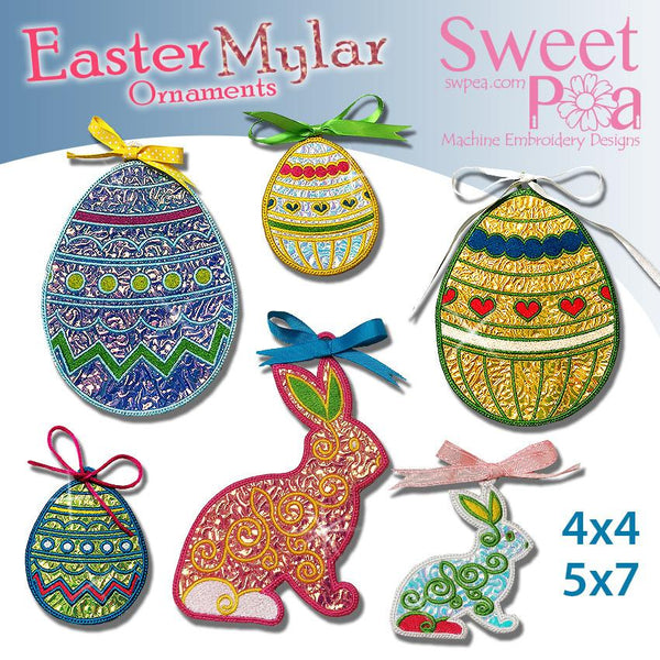 Mylar Easter Decorations 4x4 5x7 - Sweet Pea In The Hoop Machine Embroidery Design
