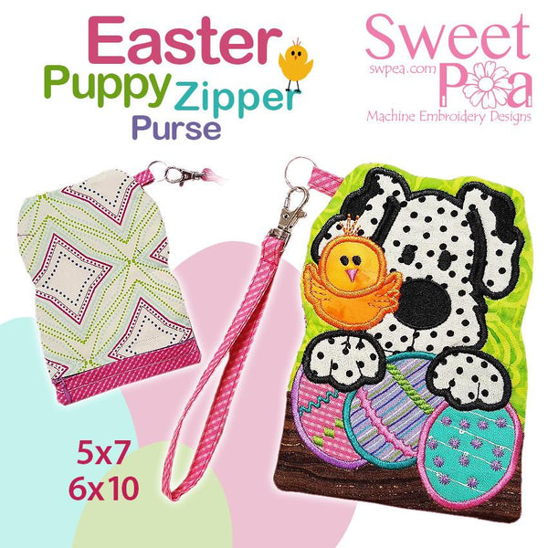 Easter puppy zipper purse 5x7 and 6x10 - Sweet Pea In The Hoop Machine Embroidery Design