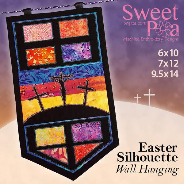 Easter silhouette table runner or wall hanging 6x10 7x12 9.5x14 - Sweet Pea In The Hoop Machine Embroidery Design