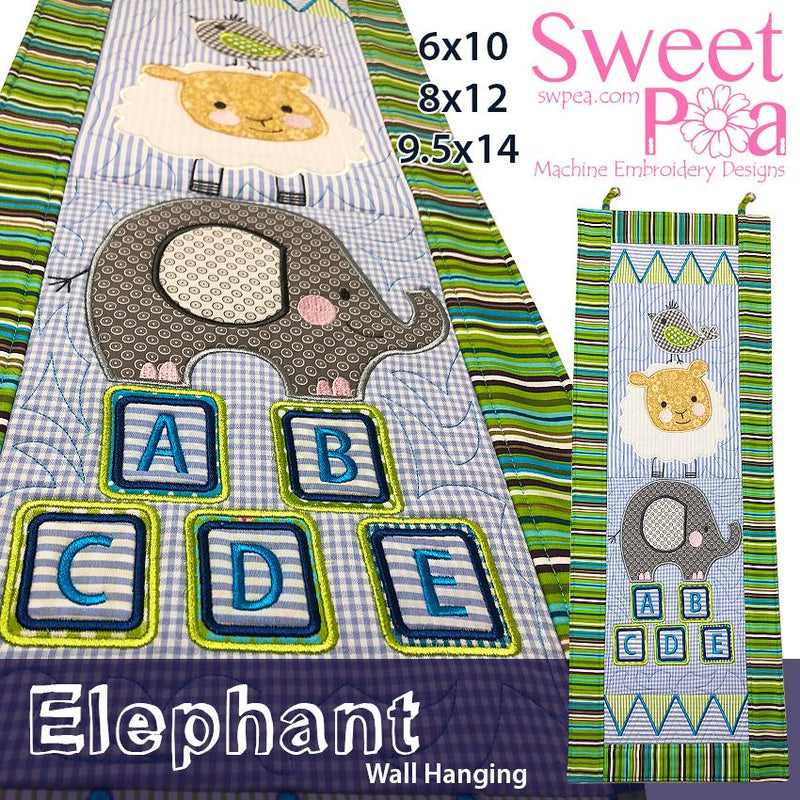 Elephant Wall hanging 6x10 8x12 9.5x14 - Sweet Pea In The Hoop Machine Embroidery Design