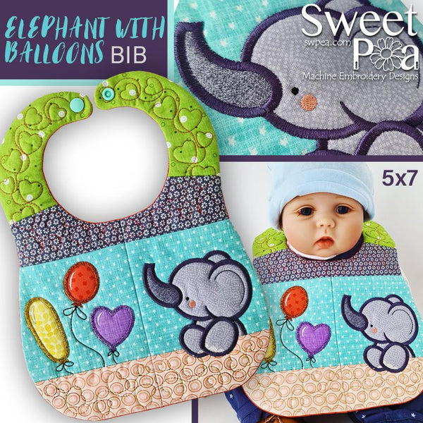 Elephant with Balloons Baby Bib 5x7 - Sweet Pea In The Hoop Machine Embroidery Design