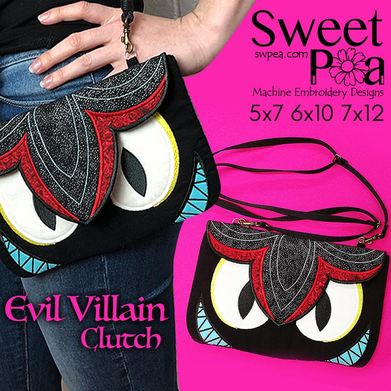 Evil Villain Clutch 5x7 6x10 7x12 - Sweet Pea In The Hoop Machine Embroidery Design