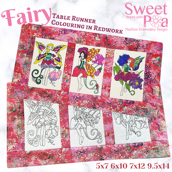 Fairy table runner colouring in 6x10 7x12 9.5x14 plus redwork 5x7