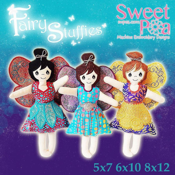 Stuffed Fairies 5x7 6x10 8x12 - Sweet Pea In The Hoop Machine Embroidery Design