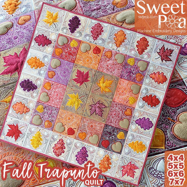 Fall Trapunto Quilt 4x4 5x5 6x6 7x7 - Sweet Pea In The Hoop Machine Embroidery Design