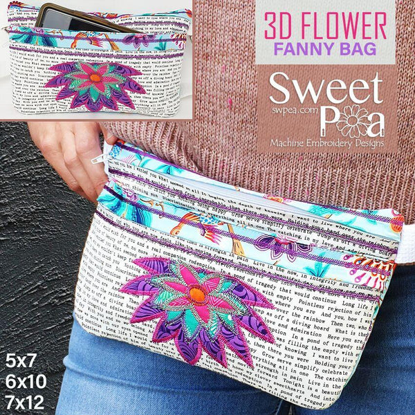 3D Flower Fanny Bag 5x7 6x10 7x12 - Sweet Pea In The Hoop Machine Embroidery Design