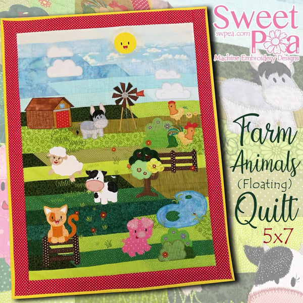 Farm Animals (Floating) Quilt 5x7 - Sweet Pea In The Hoop Machine Embroidery Design