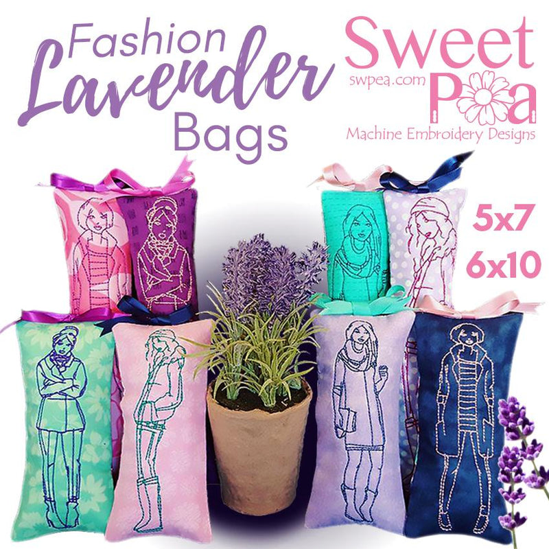 Fashion Lavender bags 5x7 6x10 - Sweet Pea In The Hoop Machine Embroidery Design