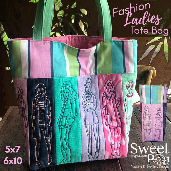Fashion Ladies tote bag 5x7 6x10 - Sweet Pea In The Hoop Machine Embroidery Design