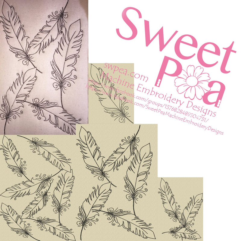 Feathers continuous quilting design - Sweet Pea In The Hoop Machine Embroidery Design