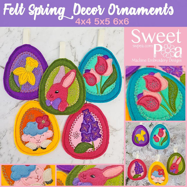 Felt Spring Decor Ornaments 4x4 5x5 6x6