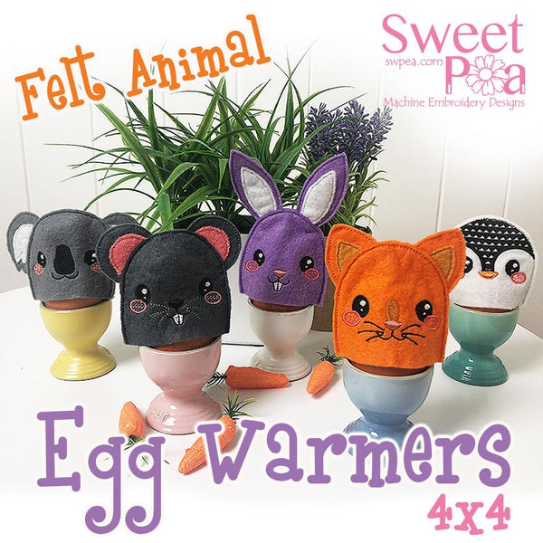 Felt Animal Egg Warmers 4x4 - Sweet Pea In The Hoop Machine Embroidery Design